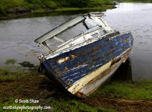 Blue Boat Aground